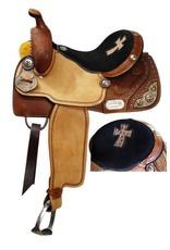 Double T barrel style saddle.