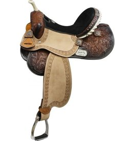 "14"", 15"",16"" Double T Barrel Style Saddle with Barrel Racer Conchos."