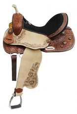 "14"", 15"", 16"" Double T Barrel Style Saddle with Copper Colored Startburst Conchos."