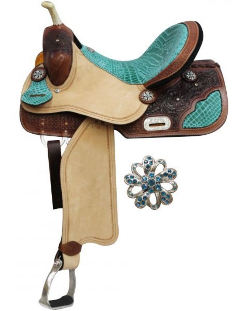"14"", 15"", 16"" Double T Barrel Style Saddle with Teal Alligator Print Accents."