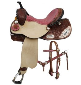 "Double T 14"" 15"" 16"" Double T Barrel Style Saddle Set with Cowgirl Up Engraved Silver."