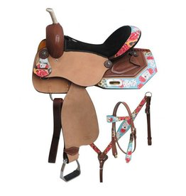 "Cyrcle S 14"", 15"", 16""  Circle S Barrel style saddle set with ""Gambling Rose"" print."