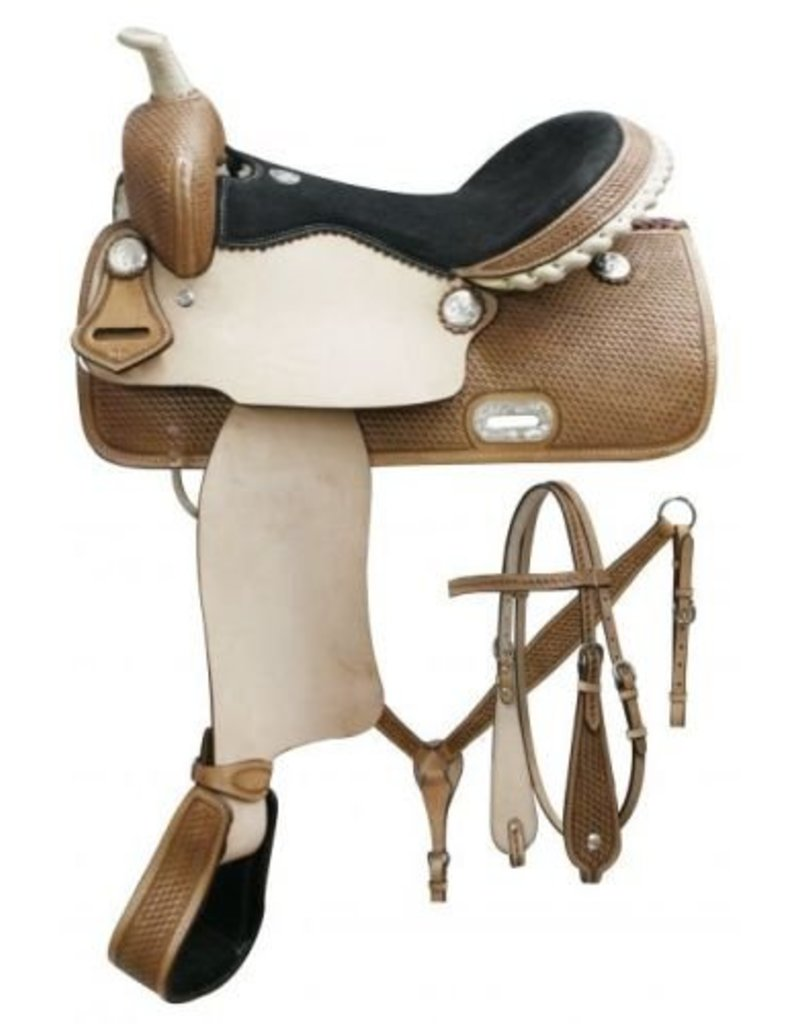 "Double T 15"", 16"" Double T Barrel saddle set with basket weave tooling."
