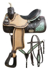 "Double T  15"", 16"" Double T barrel saddle set with teal filigree inlay."