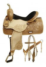 "Double T 14"", 15"", 16"" Double T Barrel style saddle with rainbow crystal rhinestones."