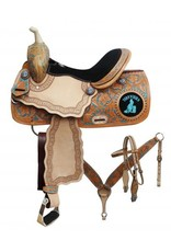 """Double T 14"""", 15"""", 16"""" Double T barrel saddle set with """" Turn 'N' Burn"""" design. T"""