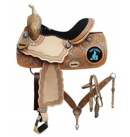 "Double T 14"", 15"", 16"" Double T barrel saddle set with "" Turn 'N' Burn"" design. T"