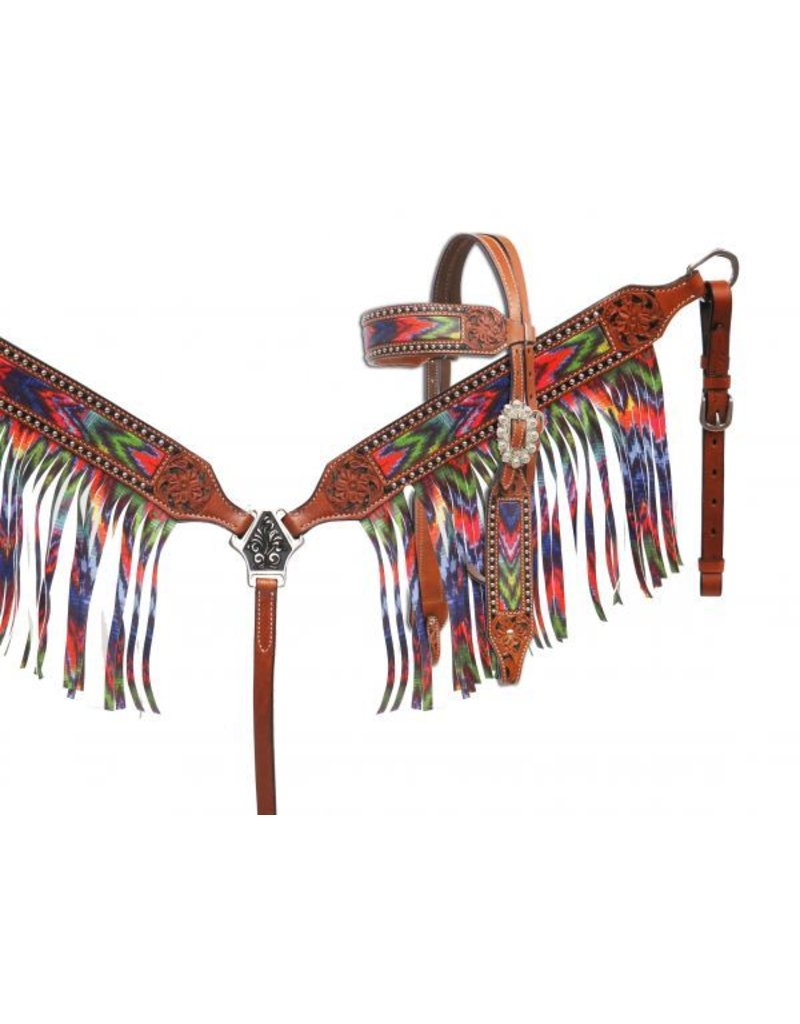 Showman ® Brushed chevron headstall and breast collar set with fringe.
