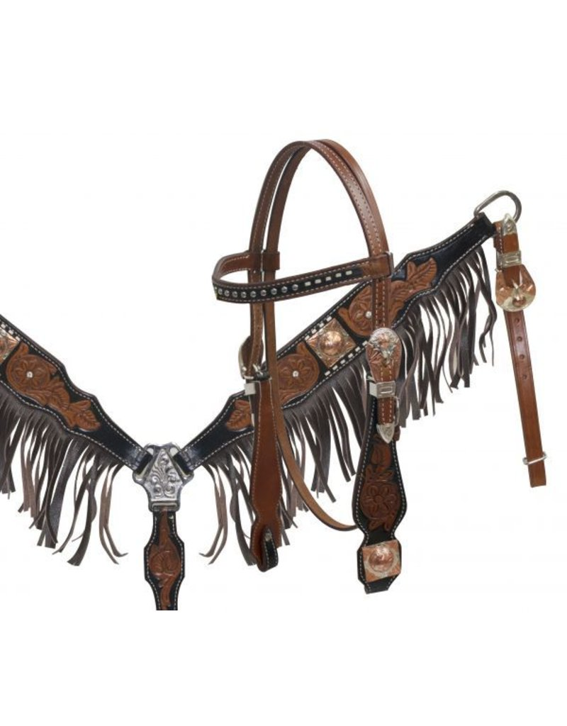 Showman ®  Black Leather Headstall and Breastcollar Set with Leather Fringe.
