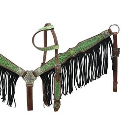 Showman ® Medium leather headstall and breast collar with lime alliigator print and black suede fringe.