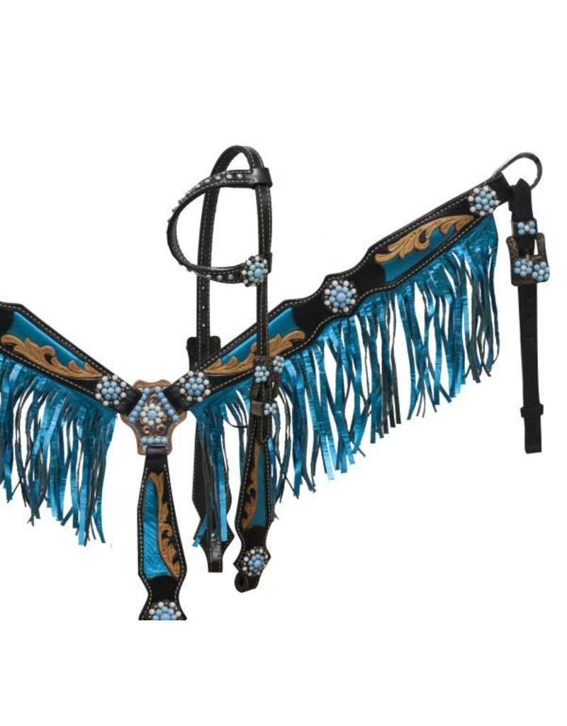 Showman ® Black leather headstall and breast collar set with metalic blue fringe and inlays.