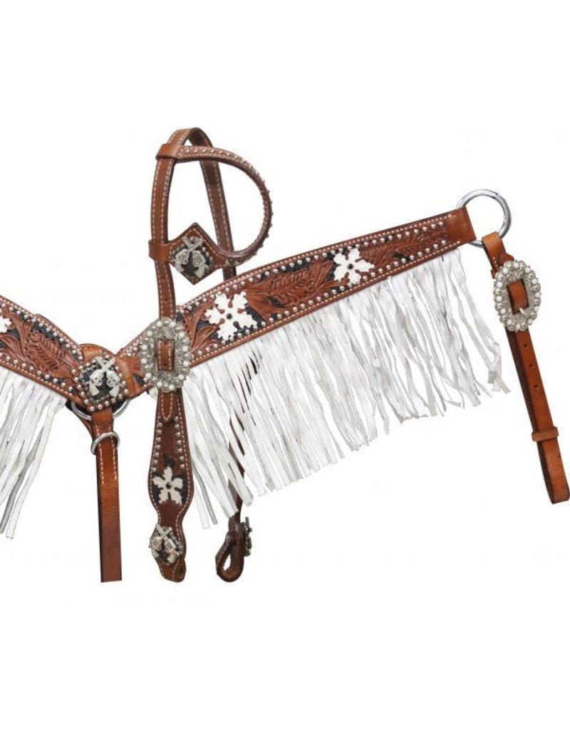 Showman ® Medium tooled leather headstall and breast coller with black color inlay and white painted flowers.