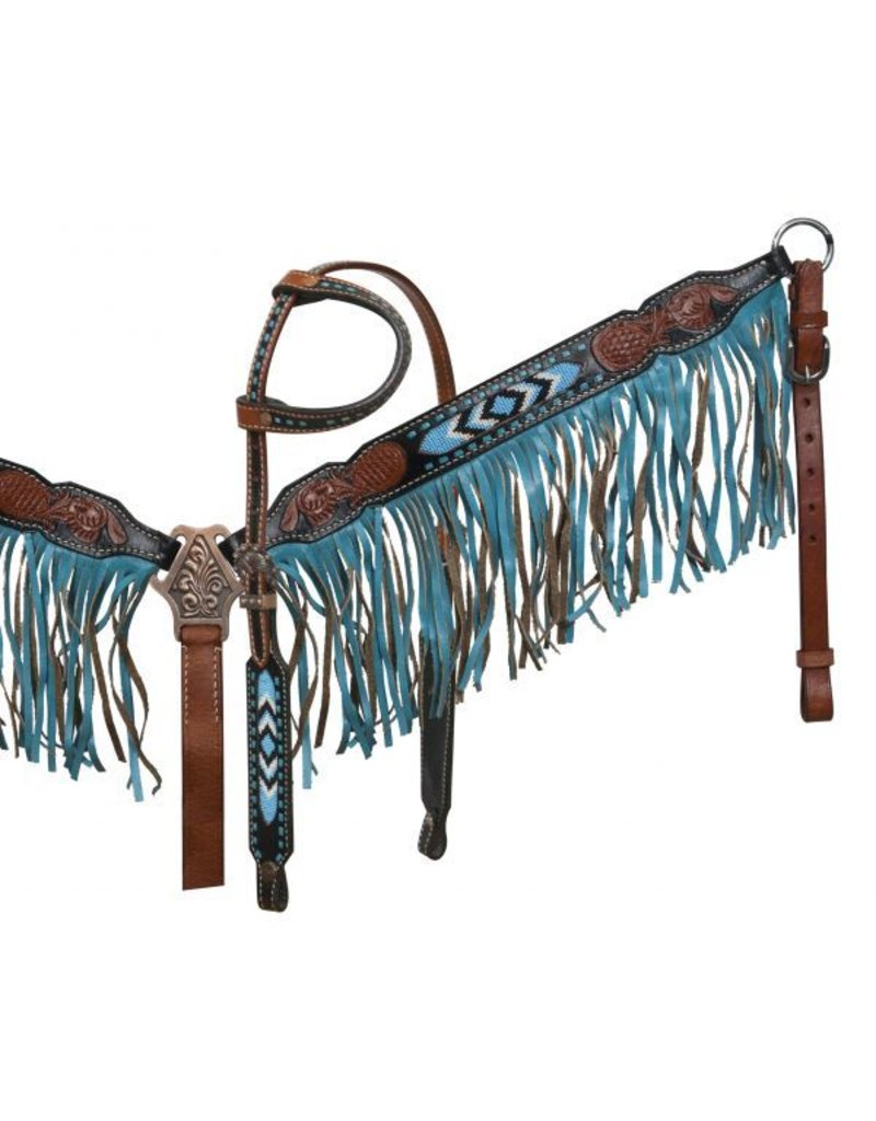 Showman ®  Black and medium leather headstall and breast collar set with beaded inlay and suede fringe.