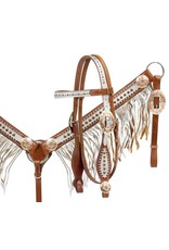 Showman ®  Medium leather headstall and breast collar set with silver overlay and fringe with rose gold accents.