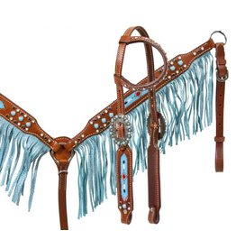 Showman ® Medium leather headstall and breast collar set with beaded inlay and turquoise sting ray print fringe.