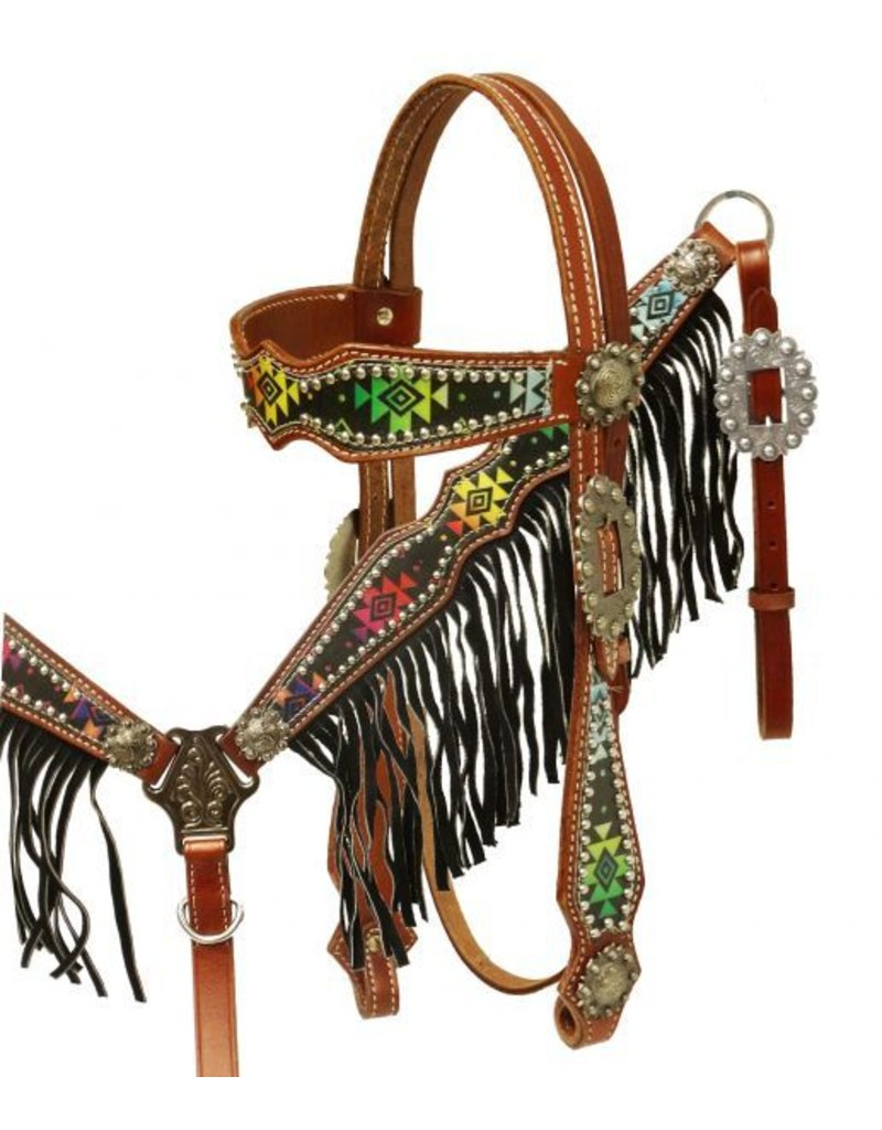 Showman ® Navajo diamond design headstall and breast collar set with fringe.