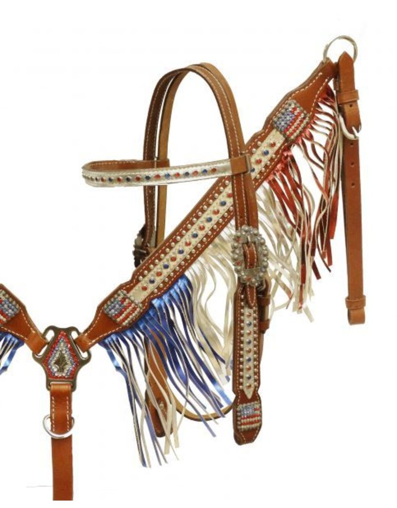 Showman ®  Patriotic metallic fringe headstall and breast collar set.