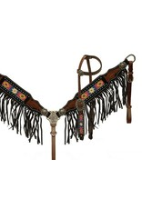 Showman ®  Beaded headstall and breast collar with black fringe.