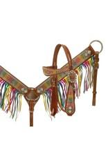 Showman ®  metallic rainbow paisley headstall and breast collar.