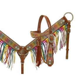 Showman ® metallic rainbow paisley headstall and breast collar.