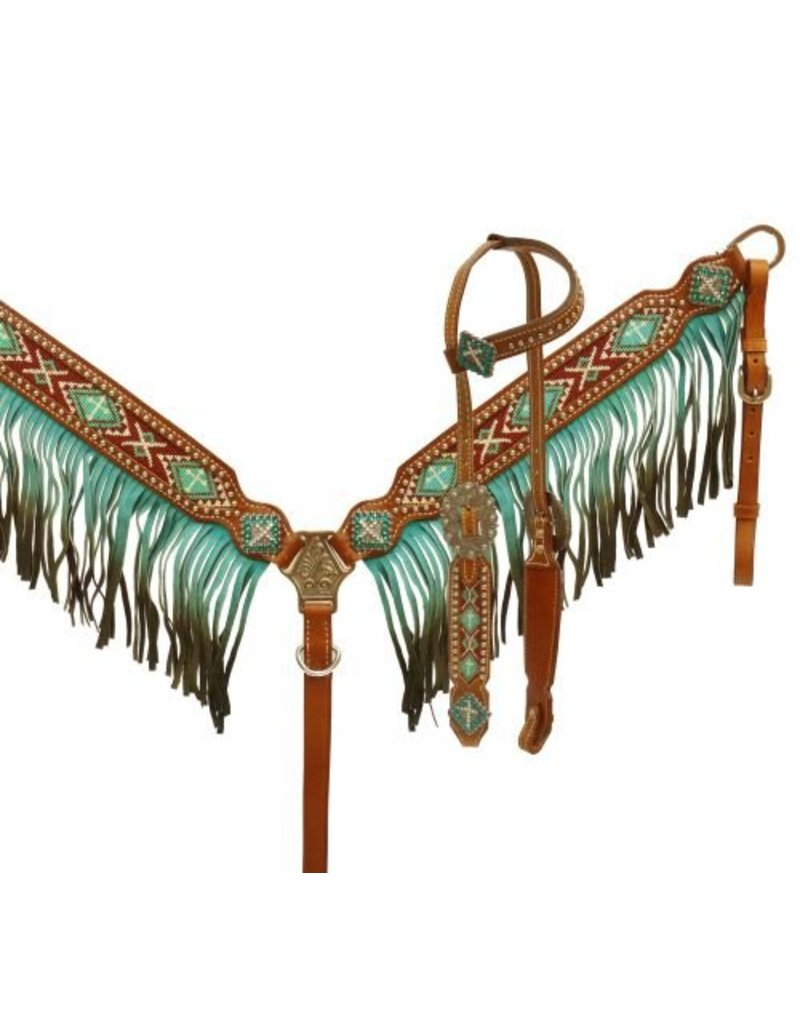 Showman ® Ombre fringe headstall and breast collar set.