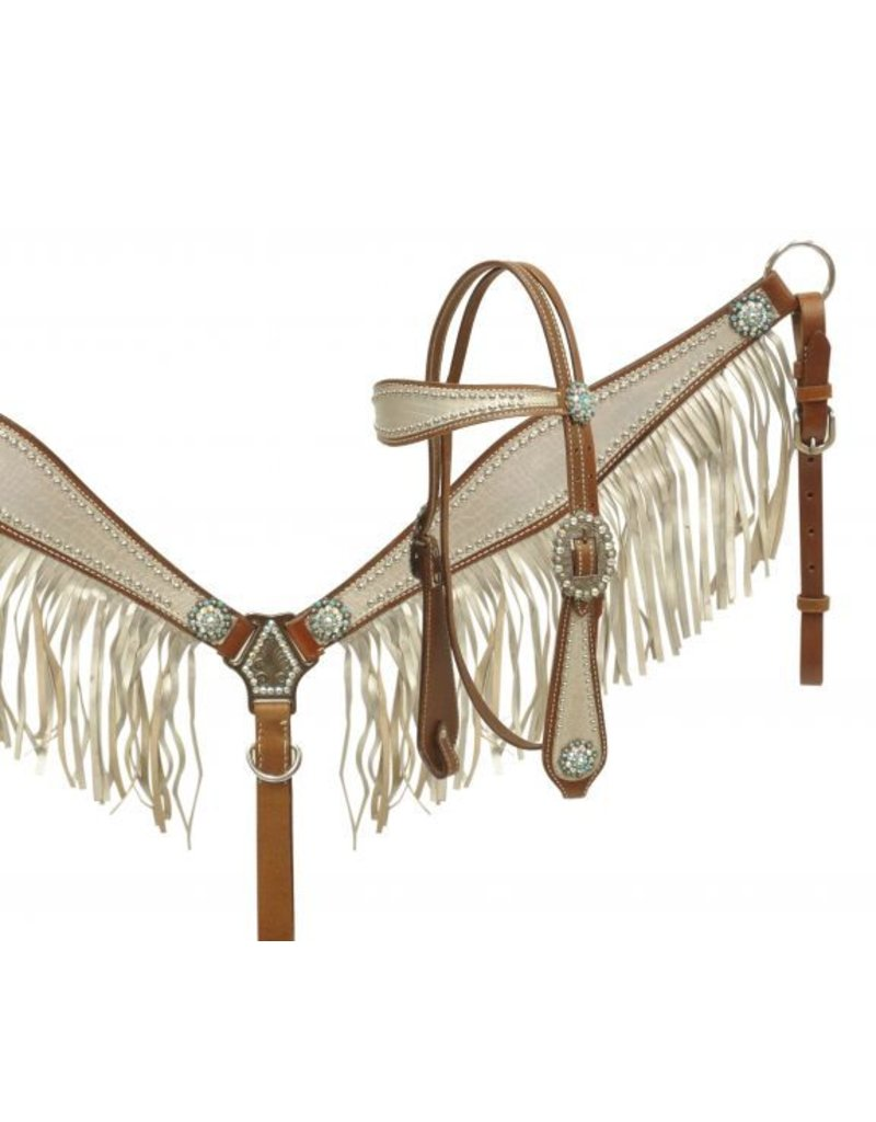 Showman ®  metallic silver fringe alligator print headstall and breast collar set.
