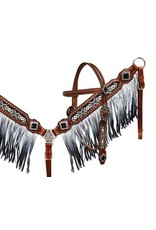Showman ® Black and white beaded headstall and breast collar with ombre fringe.