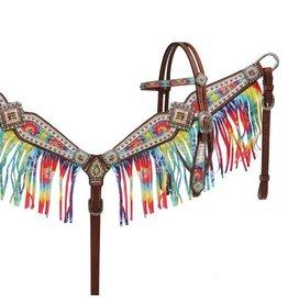 Showman ® Rainbow tie dye headstall and breast collar set.