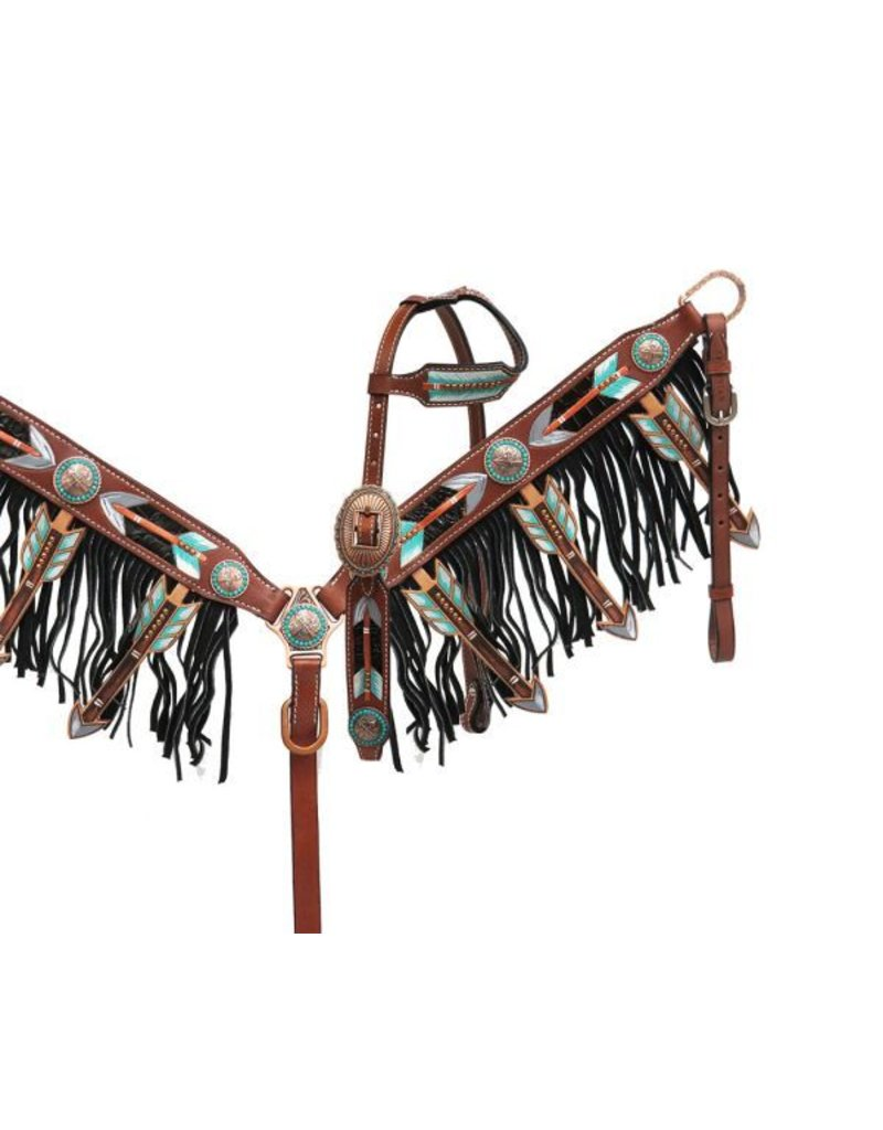 Showman ® Cut-out arrow design headstall and breast collar set.