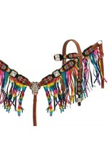 Showman ® Navajo embroidered headstall and breast collar set with Metallic rainbow fringe.