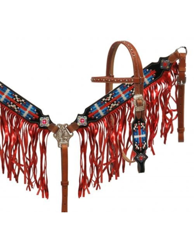 Showman ®  Navajo embroidered headstall and breast collar set with metallic fringe.