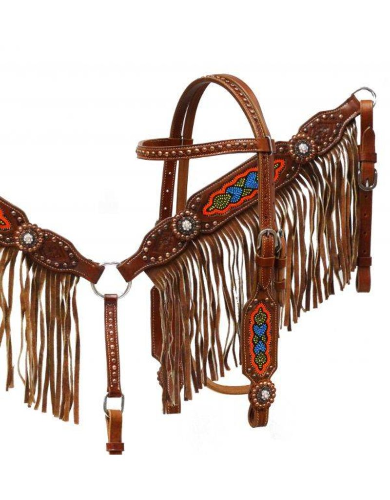 Showman ®  Medium leather headstall and breast collar set with multi colored beaded design and fringe.
