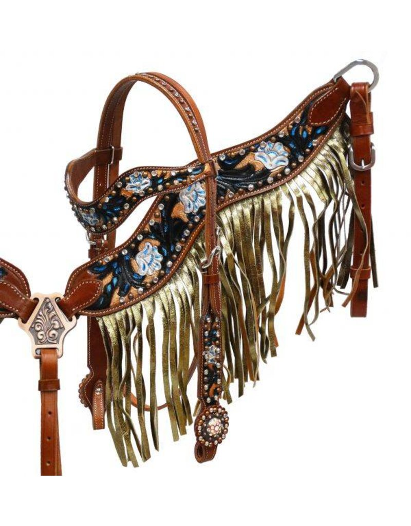 Showman ® Gold shimmer fringe headstall and breast collar set.