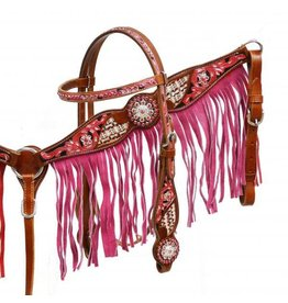 Showman ® Pink fringe headstall and breast collar set.