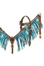 Showman ®  This set features medium double stitched leather accented with a metallic and painted peacock feather design accented with engraved heart conchos with teal crystal rhinestone in the center.