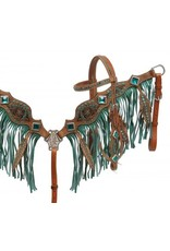 Showman ®  Feather fringe headstall and breast collar set.