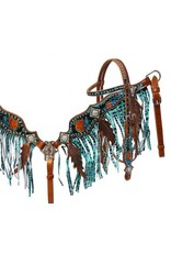 Showman ® Metallic painted headstall and fringe breast collar set.