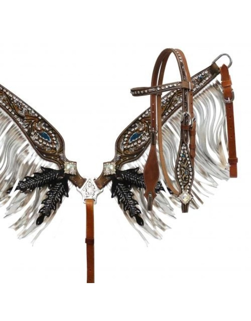 Showman ®  Silver glitter painted headstall and breast collar set.