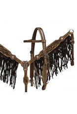 Showman ® double stitched leather headstall and breast collar set with brown suede fringe and floral tooling.