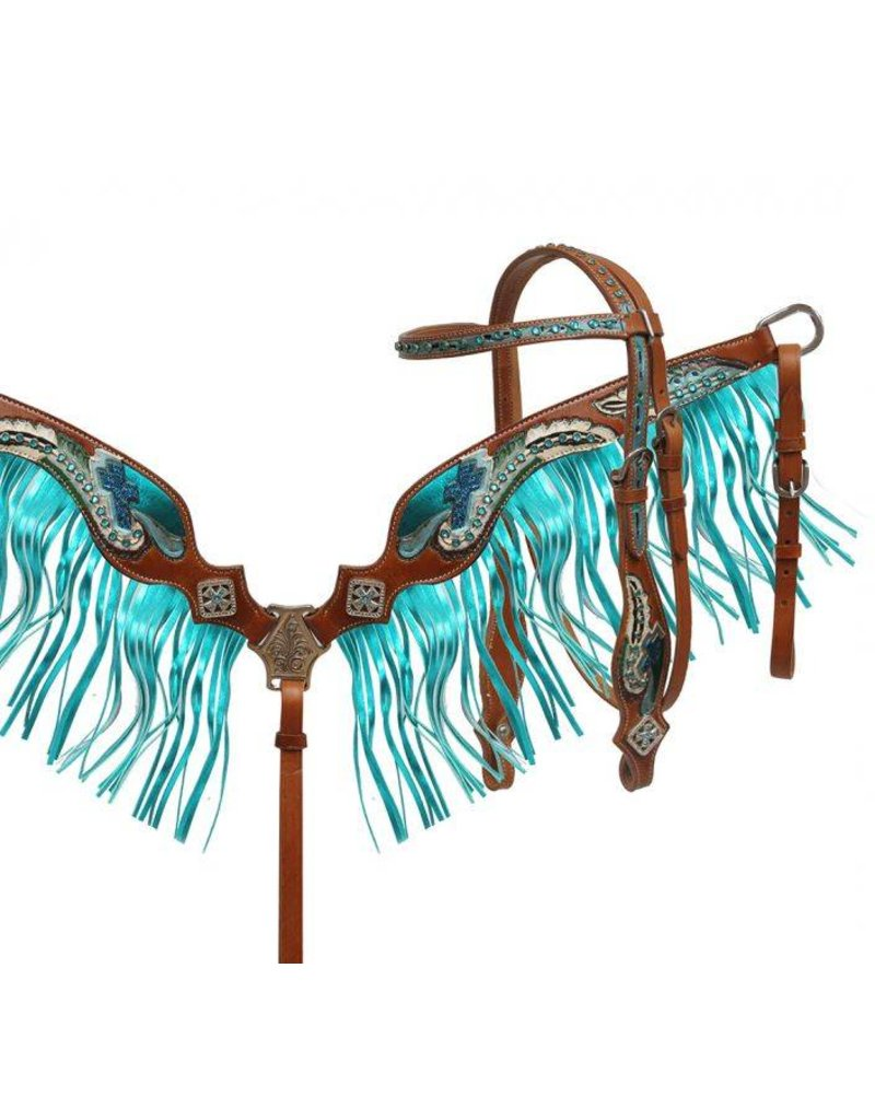 Showman ®  Painted feather tooled headstall and breast collar set with metallic fringe.