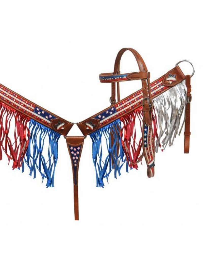 Showman ® Painted American Flag headstall and breast collar set with fringe.