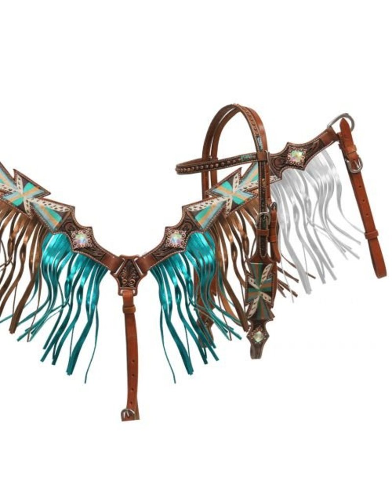 Showman ® Painted cross headstall and breast collar set with metallic fringe.