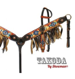 """Showman ® """" Takoda"""" headstall and breast collar set with southwest design."""