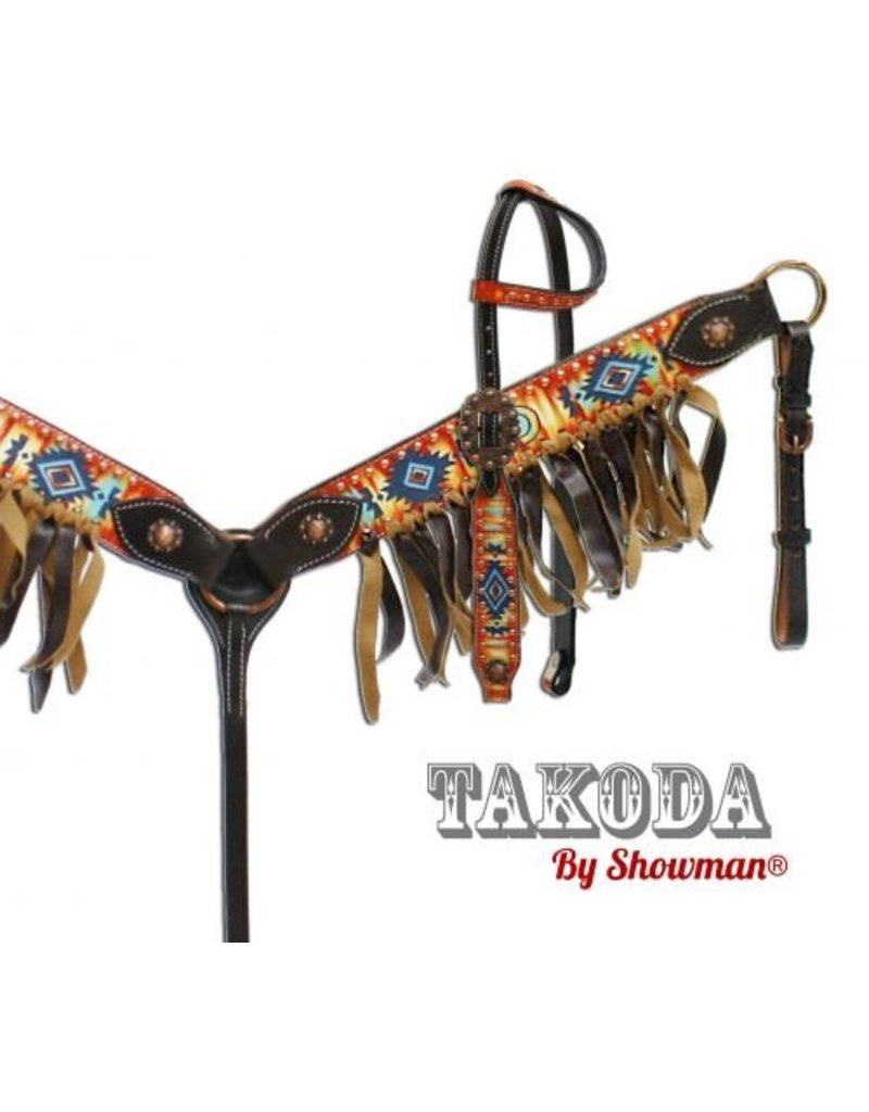 "Showman ®  "" Takoda"" headstall and breast collar set with southwest design."