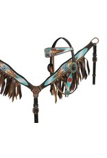 Showman ® Guns and Roses headstall and breast collar set with leather fringe.