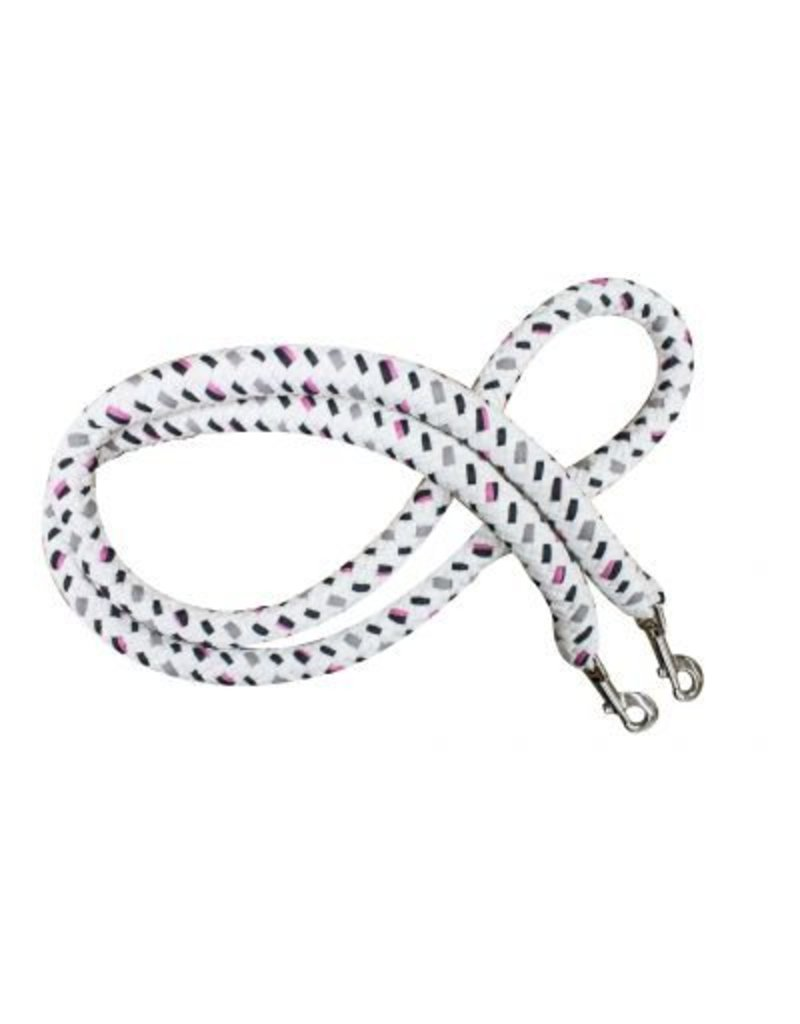 7' braided cotton multi-colored softy contest rein with heavy duty snaps.