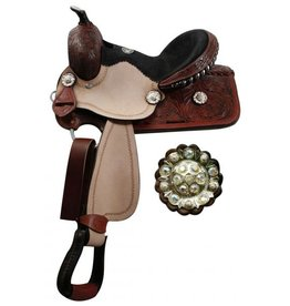 "Double T 13"" youth Double Tbarrel saddle with fully tooled pommel, skirts and cantle."