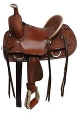 Double T  hard seat roper style saddle with basket tooling.