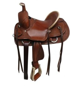 Double T hard seat roper style saddle with basket tooling.
