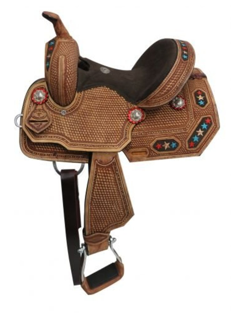 Double T Youth/Pony embroidered star barrel saddle.